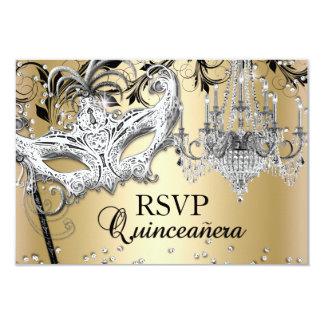 Chandelier Masquerade Gold Quinceanera RSVP 9 Cm X 13 Cm Invitation Card