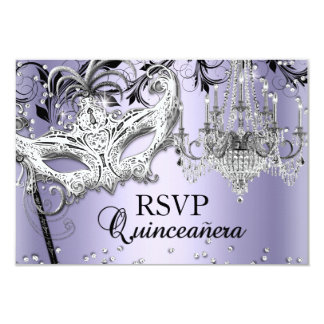 Chandelier Masquerade Purple Quinceanera RSVP 9 Cm X 13 Cm Invitation Card