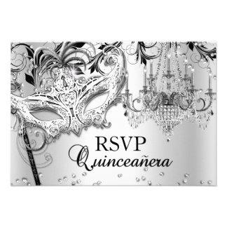 Chandelier Masquerade Silver Quinceanera RSVP Personalized Invites
