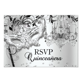 Chandelier Masquerade Silver Quinceanera RSVP 9 Cm X 13 Cm Invitation Card