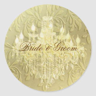 Chandelier on champagne baroque/faux velvet stickers