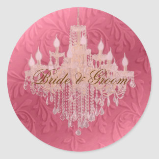 Chandelier on pink champagne/ baroque faux velvet classic round sticker