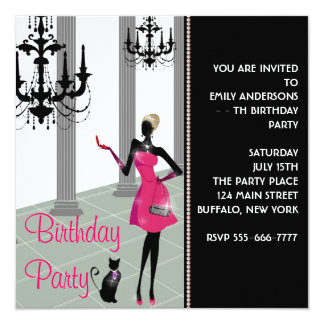 Chandelier Party Dress Any Number Girls Birthday 13 Cm X 13 Cm Square Invitation Card