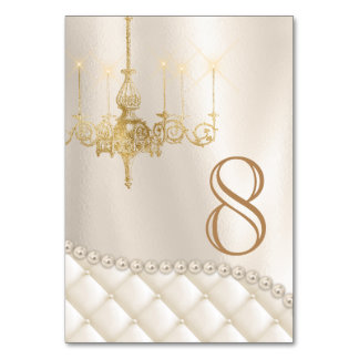 Chandelier Pearls Satin Wedding Table Number Card