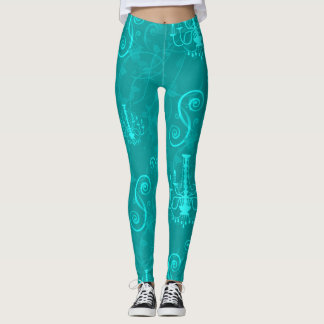 Chandelier Teal Aqua Vines Leggings