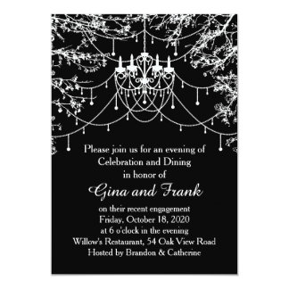 Chandelier, tree lights at night Engagement party Card