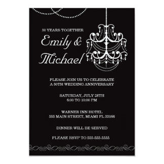 Chandelier Wedding Anniversary Black Invitation