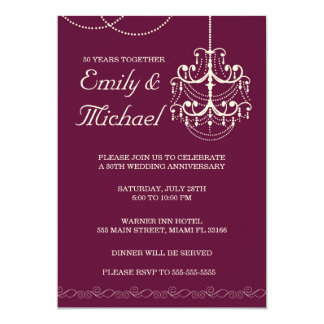 Chandelier Wedding Anniversary Burgundy Invitation