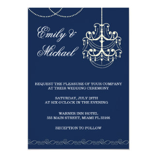 Chandelier Wedding Invitation Blue