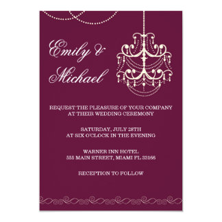 Chandelier Wedding Invitation Burgundy Marroon