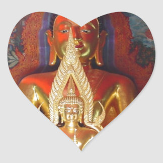 Chang Mai Buddhist Temple Thailand Gold Buddha Heart Sticker