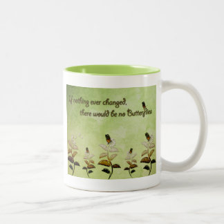 Change Butterfly Quote Two-Tone Mug