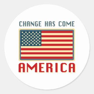 Change Has Come to America Obama Round Sticker