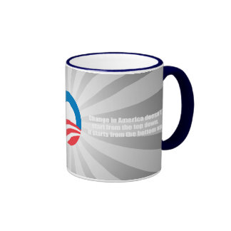 CHANGE IN AMERICA DOESN'T START FROM THE TOP DOWN RINGER MUG