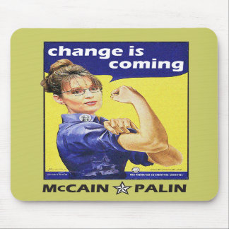 """""""change is coming"""" Mccain / Palin Republican Party Mouse Mat"""