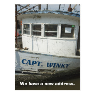 Change of Address Card: Houseboat Postcard