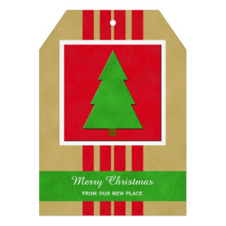 Change of Address Christmas Flat card with Tree 13 Cm X 18 Cm Invitation Card