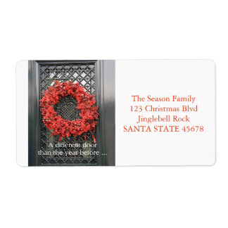 Change of Address Christmas Wreath Shipping Label