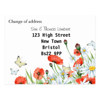 Change of address floral postcard