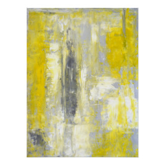 'Change of Mind' Grey and Yellow Abstract Art Poster