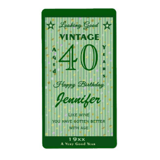 Change the Age Birthday Wine Personalized Green Shipping Label