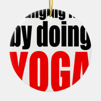 CHANGING FATE doing yoga lazy workout wife husband Ceramic Ornament