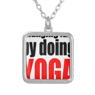 CHANGING FATE doing yoga lazy workout wife husband Silver Plated Necklace