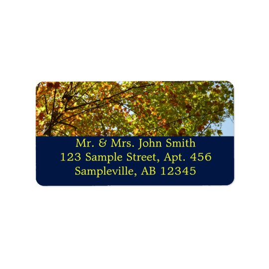 Changing Maple Tree Green and Gold Autumn Label