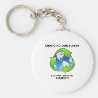 Changing Our Planet Requires Changing Our Habits Basic Round Button Key Ring