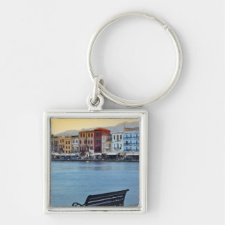 Chania at dusk, Chania, Crete, Greece Silver-Colored Square Key Ring