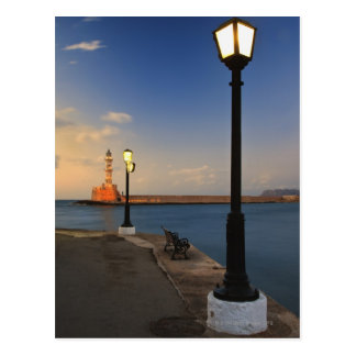 Chania Harbor and Venetian lighthouse at sunset Postcard