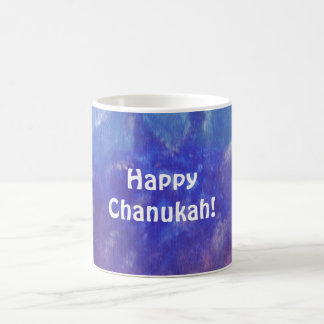 Chanukah Abstract Aqua Purple Painting Mug