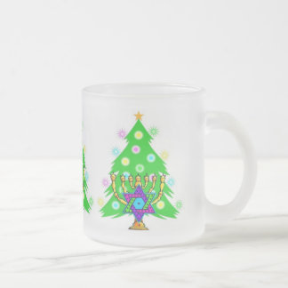 Chanukah and Christmas Frosted Glass Mug