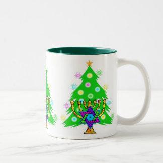 Chanukah and Christmas Two-Tone Mug