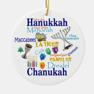 Chanukah Collage/Light the Lights Ceramic Ornament