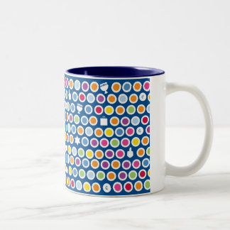 chanukah dots Two-Tone coffee mug