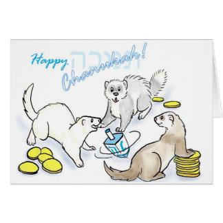 Chanukah dreidel ferrets card