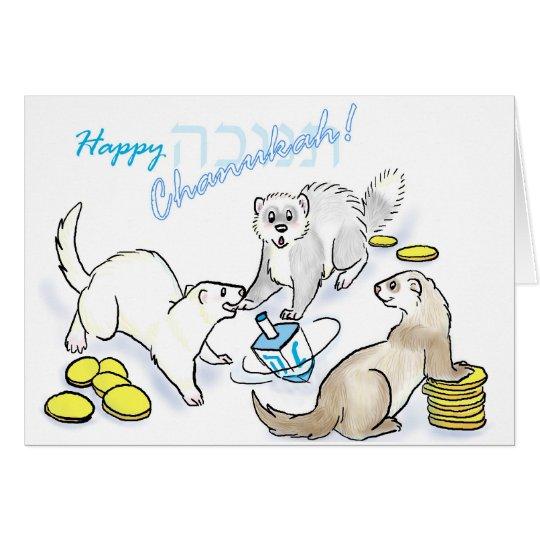 Chanukah dreidel ferrets greeting card