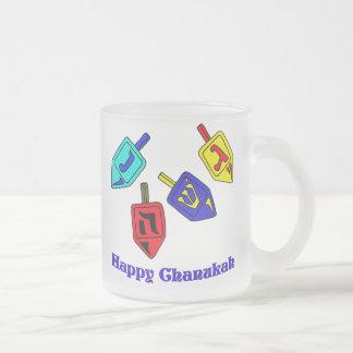 Chanukah Dreidels 10 Oz Frosted Glass Coffee Mug