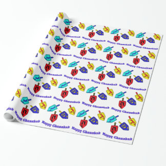 Chanukah dreidels wrapping paper