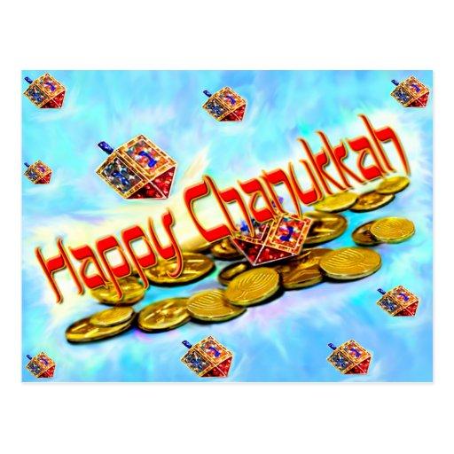 Chanukah Flying Dreidels Postcard