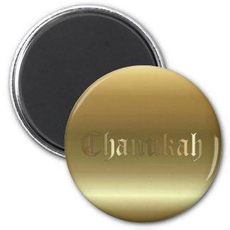 Chanukah Golden Round Magnet