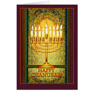 Chanukah Lights, Menorah in Stained Glass Window Card
