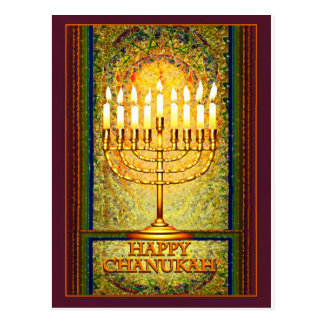Chanukah Lights, Menorah in Stained Glass Window Postcard