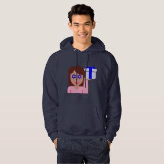 chanukkah hair flip emoji mens hooded sweatshirt