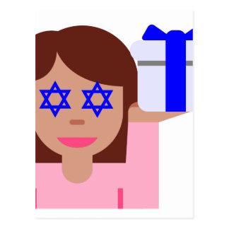 chanukkah hair flip emoji postcard