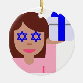 chanukkah hair flip emoji round ceramic decoration