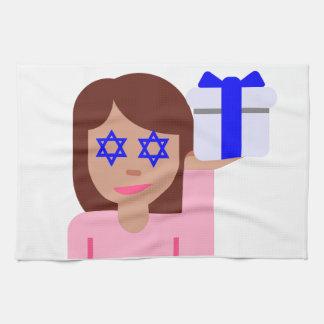 chanukkah hair flip emoji tea towel
