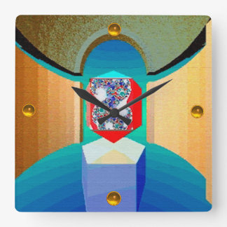 CHAOS AND ORDER TEMPLE Surreal Fractal Art Square Wall Clock