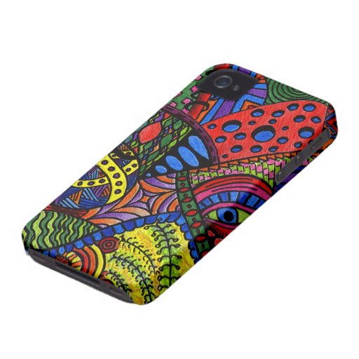 Chaos Eye - colorful doodle painting iPhone 4 Case-Mate Case